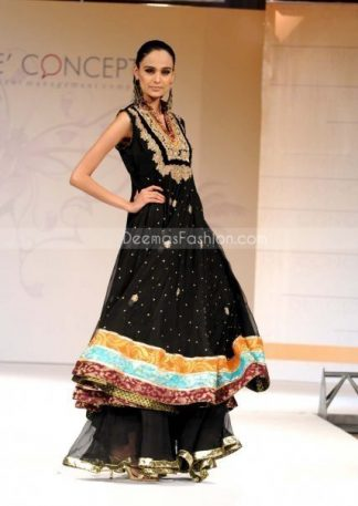 Stylish Black Pure Chiffon Frock