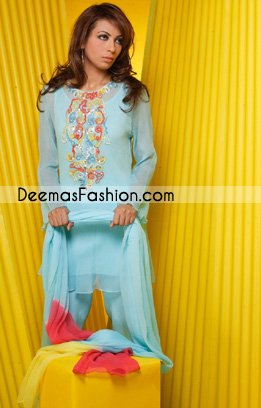 Buy Pakistani Designer Dresses - Sky Blue Casual Clothes