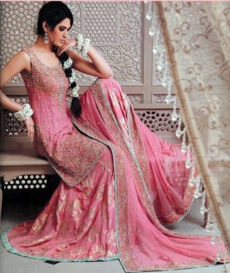 Traditional Pakistani Gharara - Tea Pink Bridal Wear