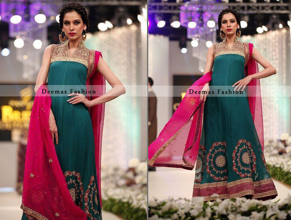 Turquoise Green Pure Chiffon Aline Formal Dress with Shocking Pink Dupatta