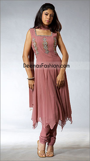 Pakistani Ladies Wear Anarkali Pink Chiffon Dress