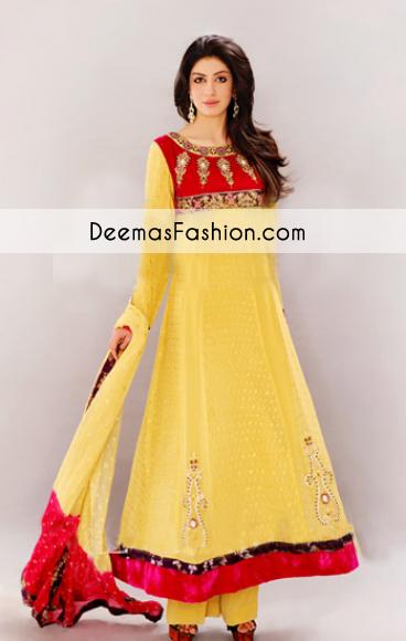 Yellow Aline Anarkali Bridal Wear Dress