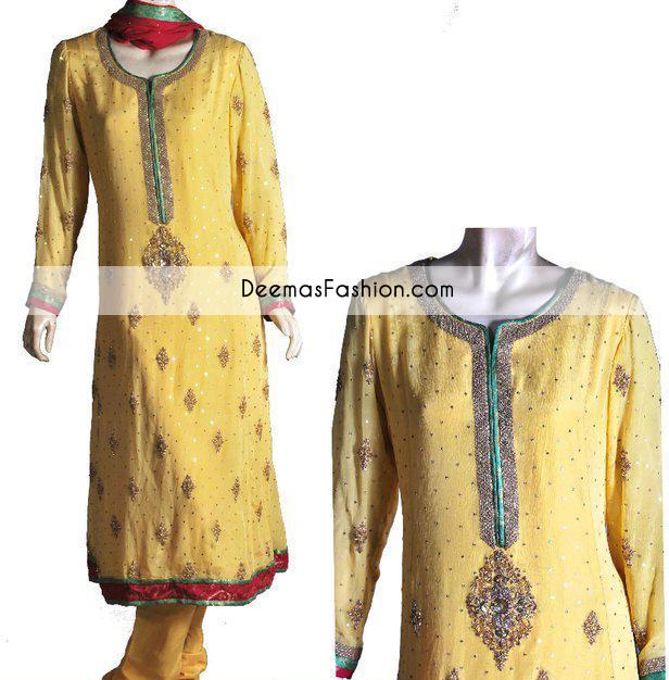 Yellow Aline Bridal Mehndi Wear Kameez Churidar