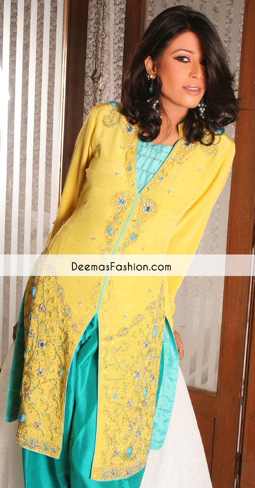 Yellow Ferozi Front Open Casual Dress