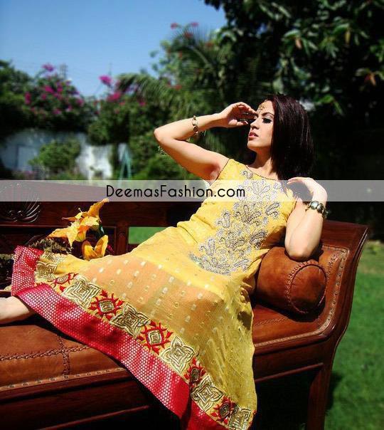 yellow-shocking-pink-aline-anarkali-frock-churidar1